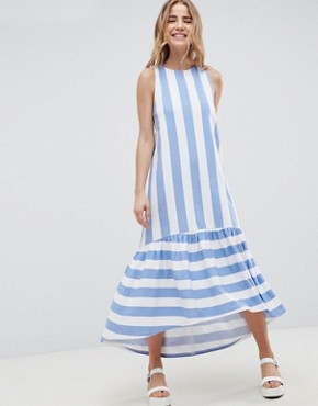 photo Maxi Dress with Racer Back and Hi Lo Pep Hem in Deckchair Stripe by ASOS DESIGN, color Deckchair Stripe - Image 1