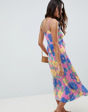 photo Slinky Midi Sundress with Waist Ruffle in Floral Print by ASOS DESIGN, color Floral Print - Image 2