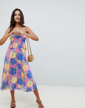 photo Slinky Midi Sundress with Waist Ruffle in Floral Print by ASOS DESIGN, color Floral Print - Image 1