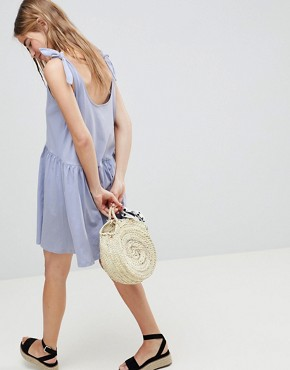 photo Knot Strap Smock Dress by ASOS DESIGN, color Soft Blue - Image 2
