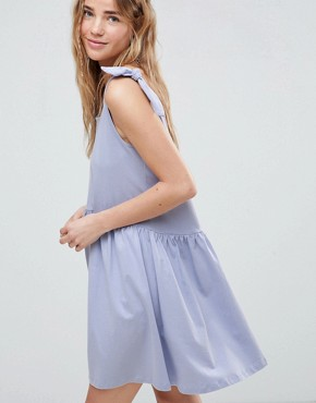 photo Knot Strap Smock Dress by ASOS DESIGN, color Soft Blue - Image 3