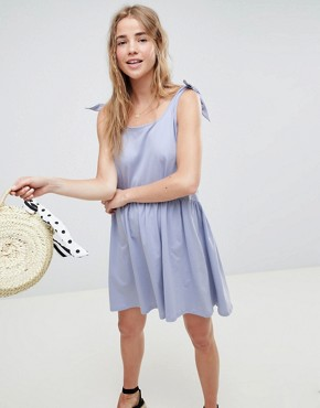 photo Knot Strap Smock Dress by ASOS DESIGN, color Soft Blue - Image 1