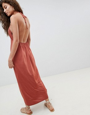 photo Halterneck Plunge Slinky Maxi Dress by ASOS DESIGN, color Rust - Image 2