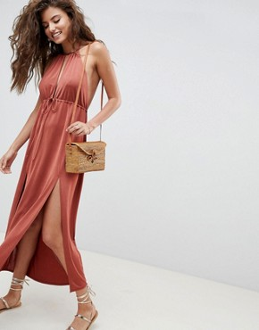 photo Halterneck Plunge Slinky Maxi Dress by ASOS DESIGN, color Rust - Image 1