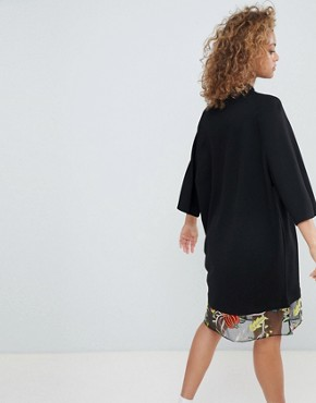 photo Embroidered Mesh Hem T-Shirt Dress by ASOS DESIGN, color Black - Image 2