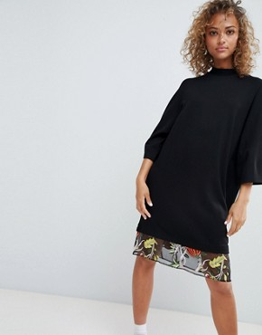 photo Embroidered Mesh Hem T-Shirt Dress by ASOS DESIGN, color Black - Image 1