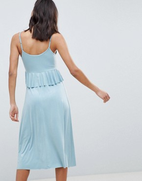 photo Slinky Midi Sundress with Waist Ruffle by ASOS DESIGN, color Soft Blue - Image 2