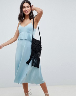 photo Slinky Midi Sundress with Waist Ruffle by ASOS DESIGN, color Soft Blue - Image 1
