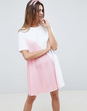 photo Mini Colour Block t-shirt Dress by ASOS DESIGN, color Multi - Image 1