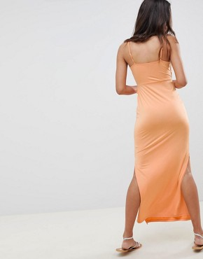 photo Maxi Sundress with Ruffle Waist in Slinky by ASOS DESIGN, color Peach - Image 2