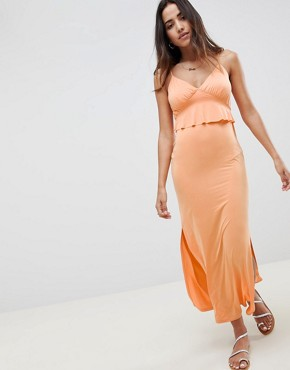 photo Maxi Sundress with Ruffle Waist in Slinky by ASOS DESIGN, color Peach - Image 1