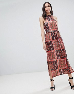 photo Scarf Print Maxi Sundress with Belt by ASOS DESIGN, color Scarf Print - Image 1