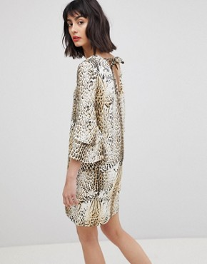 photo Leopard Print Dress with Tiered Sleeves by Vero Moda, color Leopard Print - Image 2