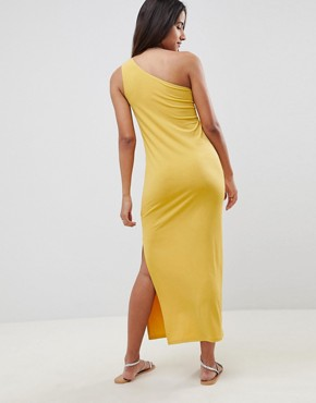 photo Column One Shoulder Slinky Maxi Dress by ASOS DESIGN, color Yellow - Image 2