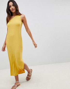 photo Column One Shoulder Slinky Maxi Dress by ASOS DESIGN, color Yellow - Image 1