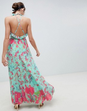 photo Pleated Maxi Dress with Ruffle Open Back in Vintage Floral by ASOS DESIGN, color Multi - Image 2