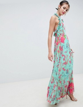 photo Pleated Maxi Dress with Ruffle Open Back in Vintage Floral by ASOS DESIGN, color Multi - Image 1