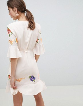 photo Embroidered Wrap Mini Dress by ASOS DESIGN, color Cream - Image 2