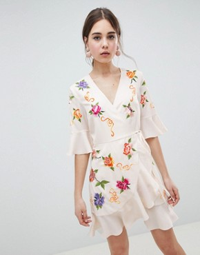 photo Embroidered Wrap Mini Dress by ASOS DESIGN, color Cream - Image 1