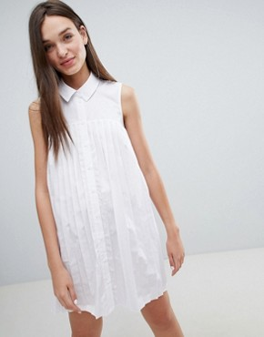 photo Mini Cotton Pleated Swing Shirt Dress by ASOS DESIGN, color White - Image 1