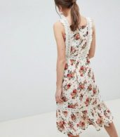 photo Pinafore Midi Dress in Ditsy Print by ASOS DESIGN, color Multi - Image 2