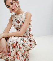photo Pinafore Midi Dress in Ditsy Print by ASOS DESIGN, color Multi - Image 3