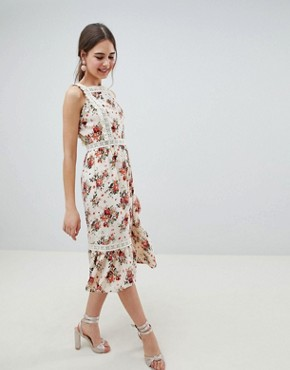photo Pinafore Midi Dress in Ditsy Print by ASOS DESIGN, color Multi - Image 4