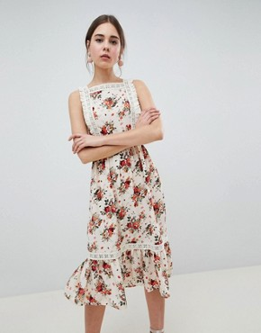 photo Pinafore Midi Dress in Ditsy Print by ASOS DESIGN, color Multi - Image 1