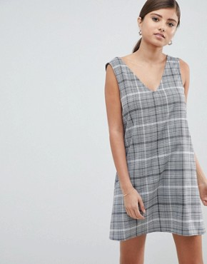 photo Check Mini Shift Dress by ASOS DESIGN, color Mono - Image 1