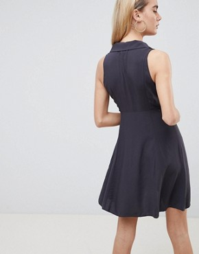 photo Sleeveless Button Through Mini Skater Dress by ASOS DESIGN, color Grey - Image 2