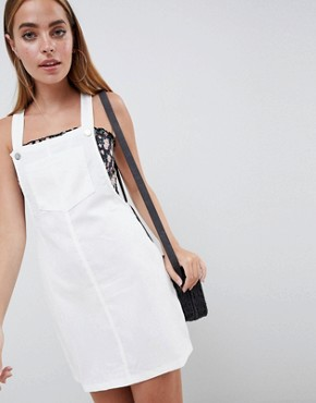 photo Cord Dungaree Dress by Missguided Petite, color White - Image 4