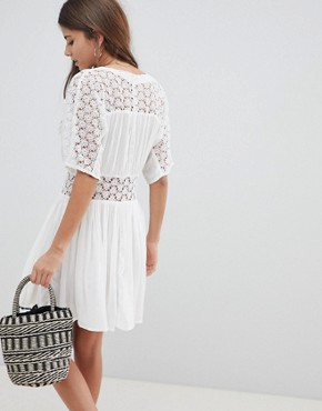 photo Casual Tea Dress with Lace Insert by ASOS DESIGN, color White - Image 2