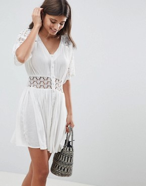 photo Casual Tea Dress with Lace Insert by ASOS DESIGN, color White - Image 1