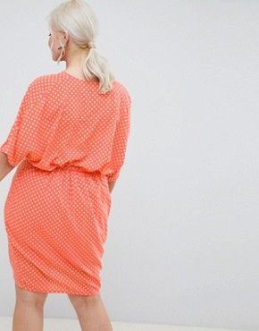 photo Twist Front Polka Dot Dress by Missguided Plus, color Peach - Image 2