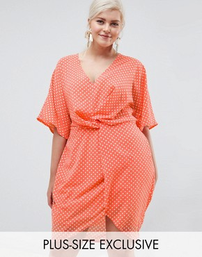 photo Twist Front Polka Dot Dress by Missguided Plus, color Peach - Image 1