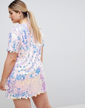 photo Sequin Festival T-Shirt Dress by Missguided Plus, color Irredecent - Image 2