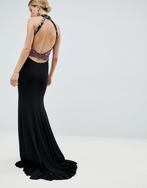 photo Embroided Maxi Dress by Jovani, color Black - Image 2