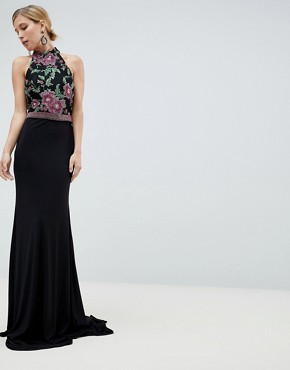 photo Embroided Maxi Dress by Jovani, color Black - Image 1