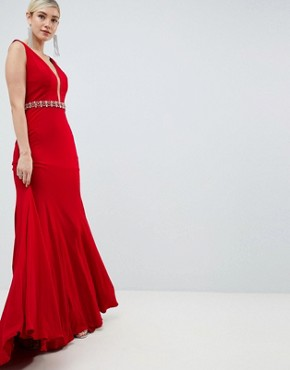 photo Jewel Waisted Dress by Jovani, color Red - Image 1