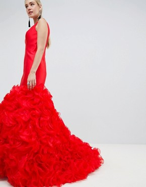 photo 3D Fishtail Maxi Dress by Jovani, color Red - Image 2