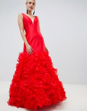 photo 3D Fishtail Maxi Dress by Jovani, color Red - Image 1