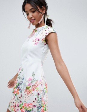 photo Placement Floral Shift Mini Dress by ASOS DESIGN, color Blue - Image 1