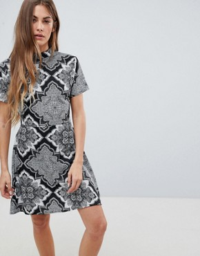 photo High Neck Printed Dress by Daisy Street, color Black/Grey - Image 1