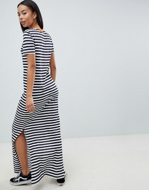 photo Stripe Maxi Dress with Contrast Neck by Noisy May Tall, color Navy Blazer Stripes - Image 2