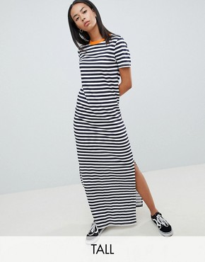 photo Stripe Maxi Dress with Contrast Neck by Noisy May Tall, color Navy Blazer Stripes - Image 1
