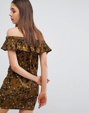 photo Off Shoulder Frill Dress in Leopard Print by Daisy Street, color Khaki - Image 2