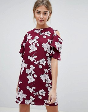 photo Floral Shift Dress with Cold Shoulder by Daisy Street, color Wine - Image 1
