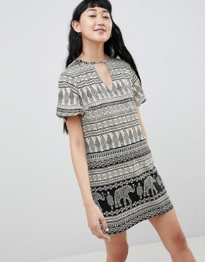 photo Shift Dress with Notch Neck in Elephant Print by Daisy Street, color Black - Image 1