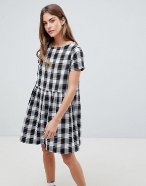 photo Smock Dress in Gingham Check by Daisy Street, color Black/White - Image 1