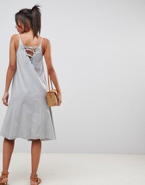photo Trapeze Swing Lace Up Back Midi Sundress by ASOS DESIGN Tall, color Duck Egg - Image 2